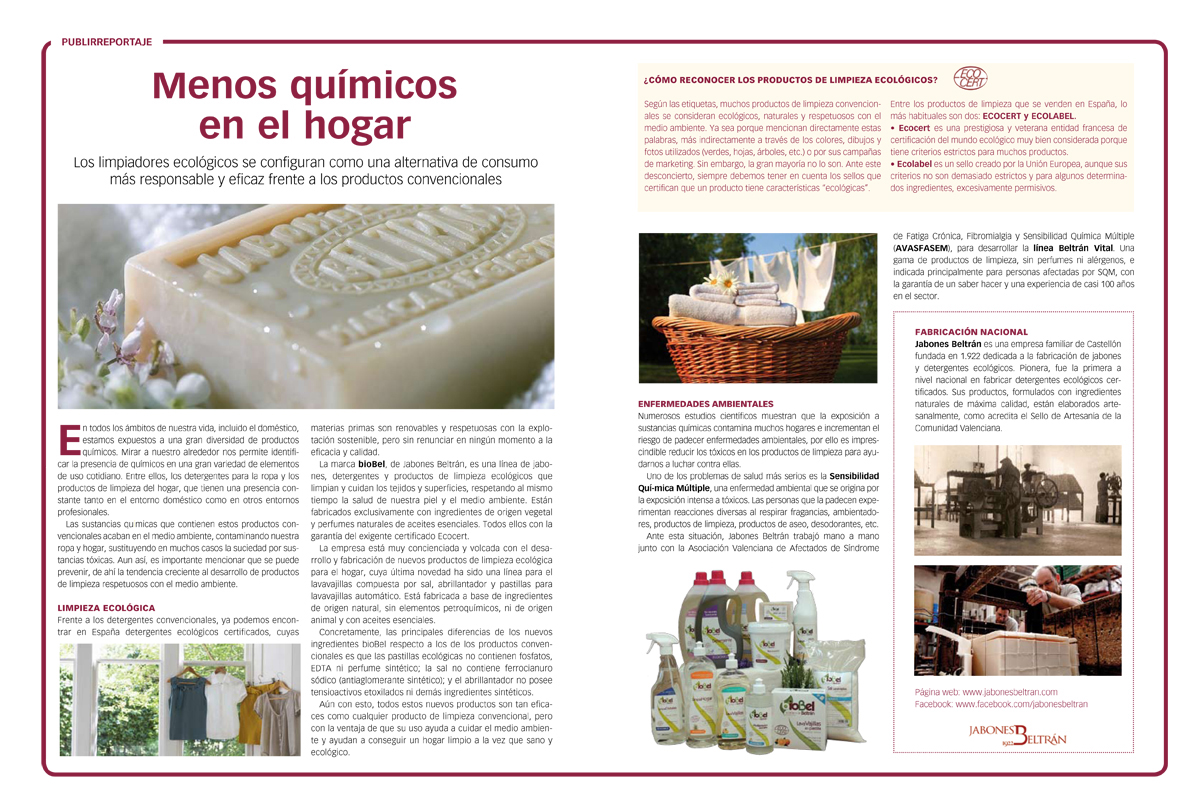 Publirreportaje de Jabones Beltrán en la revista Integral - Advertorial of Beltran Soaps in the Integral magazine - Publireportatge de Sabons Beltrán a la revista Integral